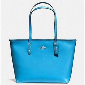 Coach city zip tote bright blue